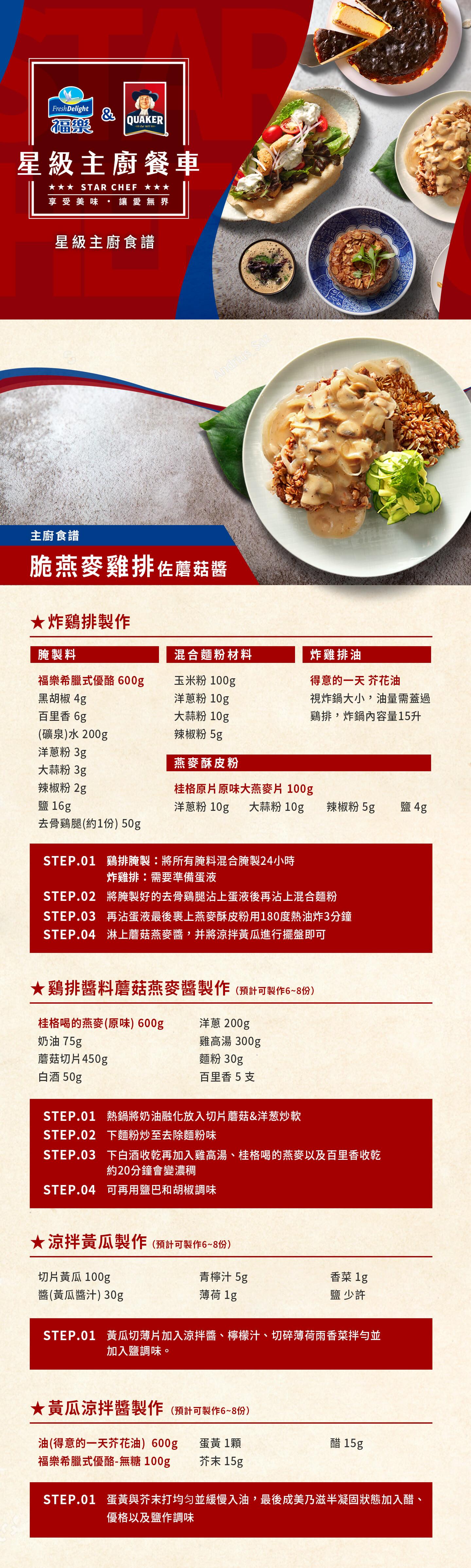 桂格,福樂,星級主廚健康食譜,脆燕麥雞排佐蘑菇醬,李皞