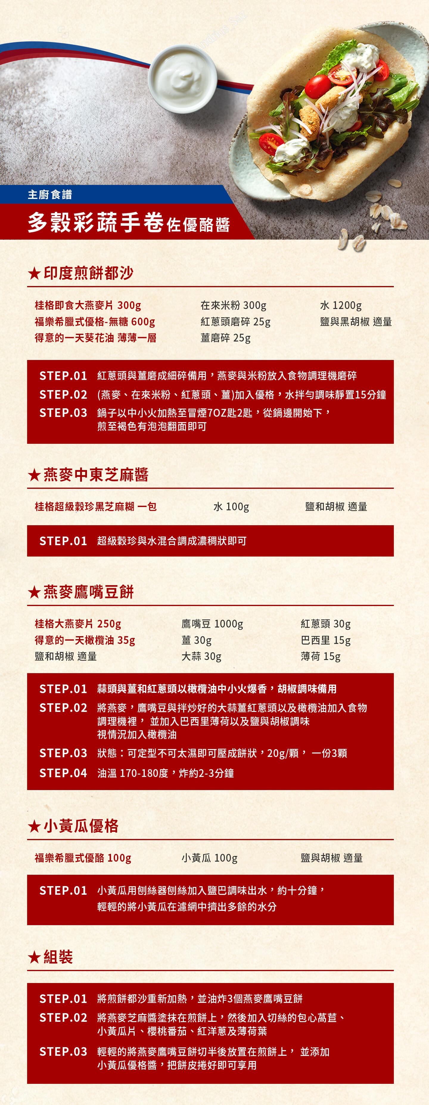 桂格,福樂,星級主廚健康食譜,多穀彩蔬手卷佐優酪醬,劉世揚